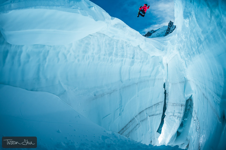 Jumping the crevasse with Fabian Bodet by Tristan Shu on 500px.com