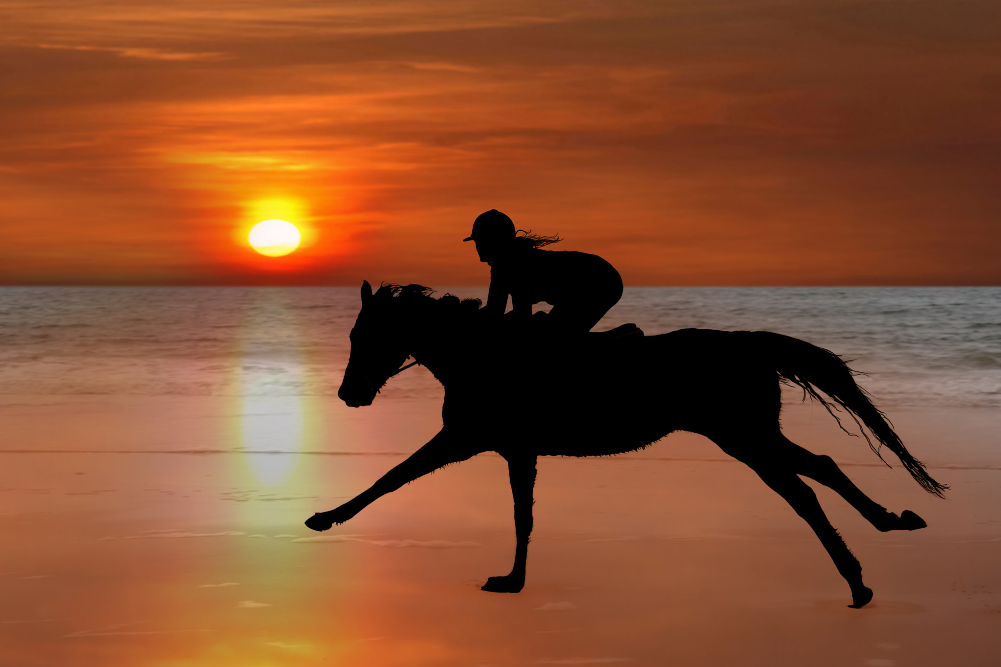 Photograph silhouette of a horse and rider galloping on beach by David Morrison on 500px