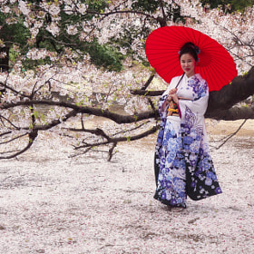 The lady with red umbrella