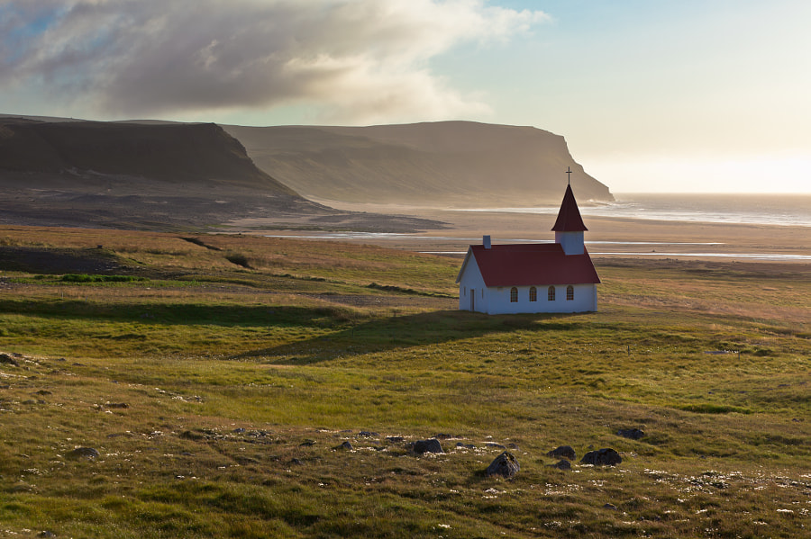 Photograph Typical Rural Icelandic Church at Sea Coastline by dvoevnore . on 500px