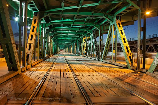 Steel Truss Bridge Tramway at Night