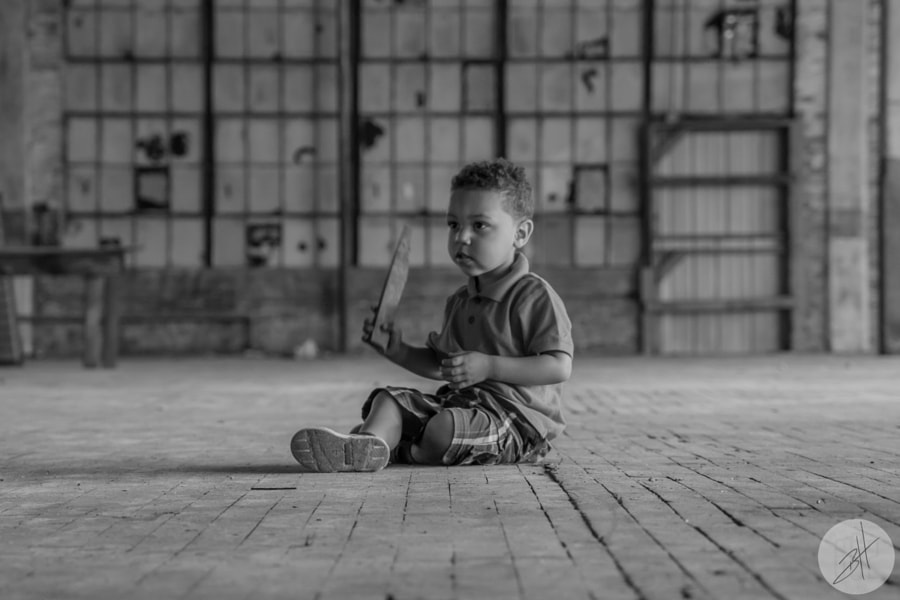 Daryn at the Cotton Mill BW