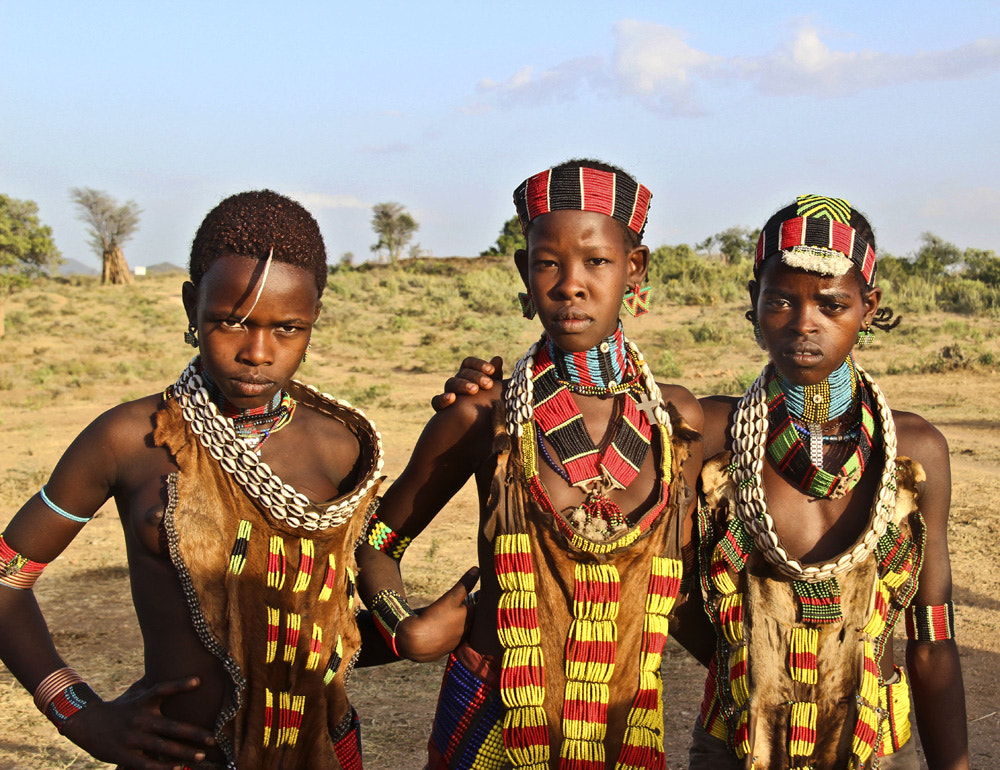 Photograph Three girls from the tribe of Hammer by Drora Baharal on 500px