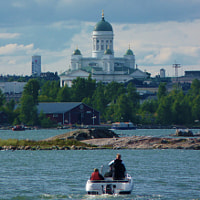 Can see Cathedral with Olympic Stadium at the left, viewed from Suomenlinna