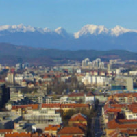 A view from the Ljubljana Castle towards the Kamniska Alps