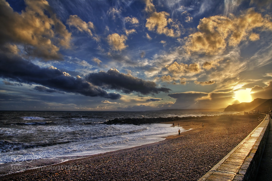 Sunset on the prom, West Bay