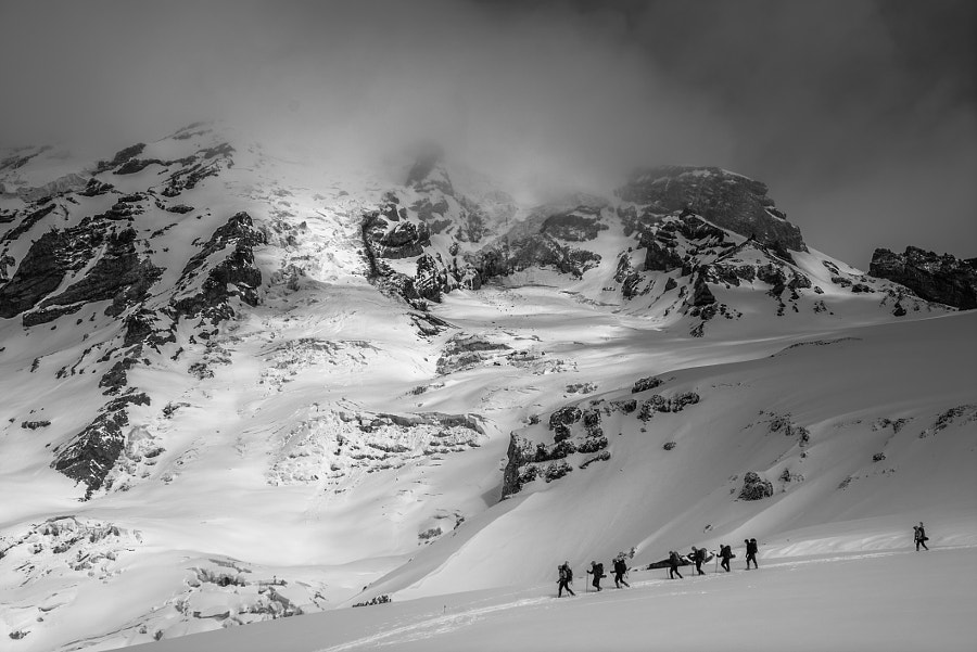 Another one from Sunday's Muir trip.  I imagine these guys had summitted this very morning, as the weather was quite good.  If so, I'm glad they got down before the clouds rolled in.  Of course, such a line of people look much like ants slowly crawling up a mound when viewed against the backdrop of Rainier's bulk.