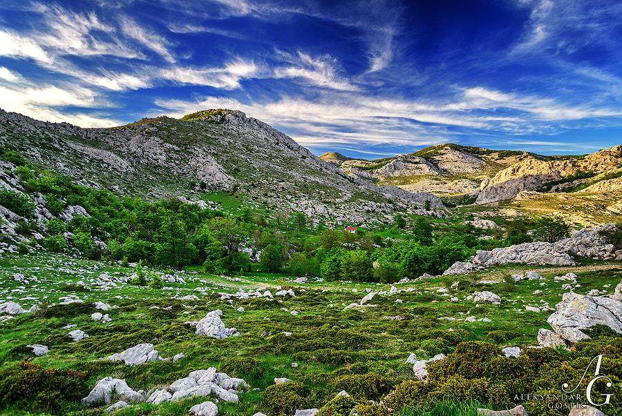 End of the day in the magical karst of Velebit