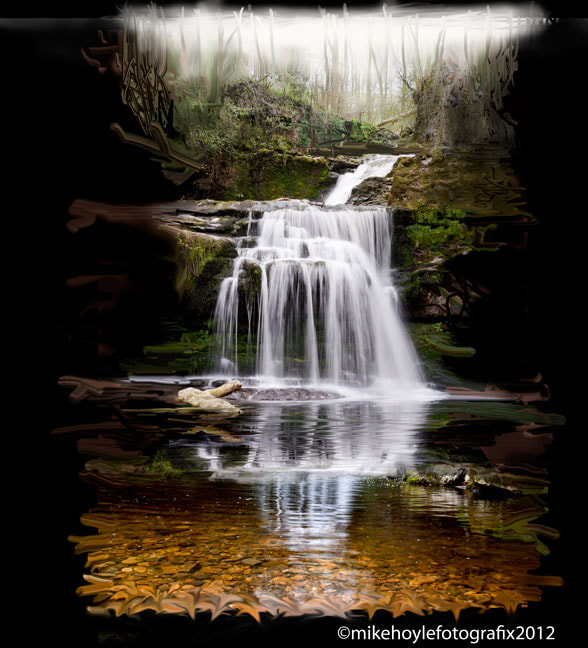 Photograph digital painting - waterfall in glade by Mike Hoyle on 500px