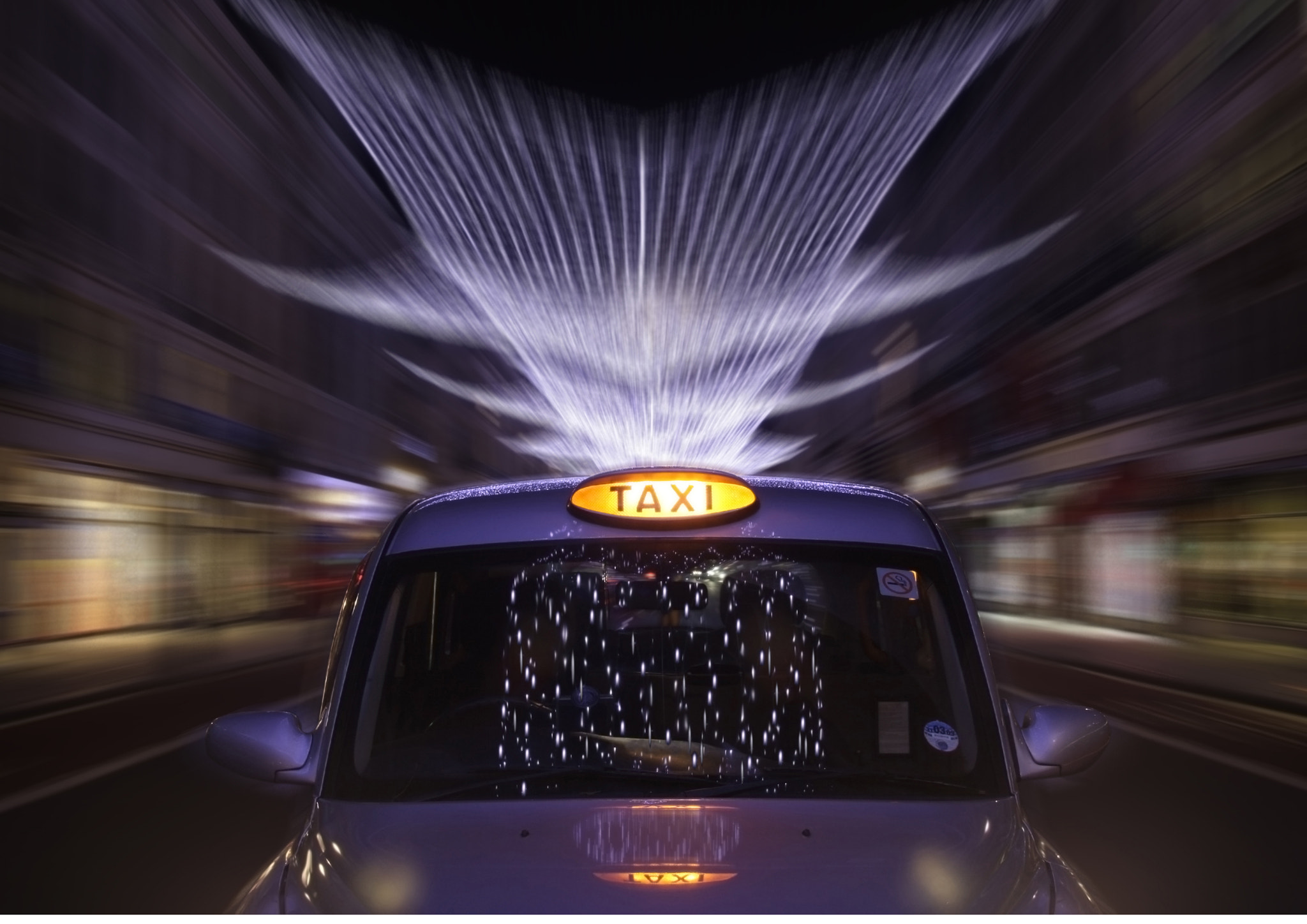 Photograph London Taxi and Regent Street Christmas Lights by Justin Sneddon on 500px
