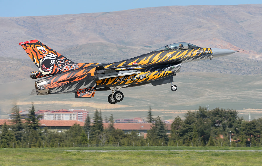 """A Turkish F-16DG Fighting Falcon of the 192 Tiger Squadron  for the occasion given a new Tiger look.  192 Squadron was established in 1948 as 102 Fighter Bombing Squadron at Balikesir, Turkey.  The occasion was the NATO Tiger Meet 2015 last week on Konya Air Base in Turkey.  ©<a href=""""http://www.hewaph.com"""">Harry Eggens</a>  Best wishes,  Harry"""