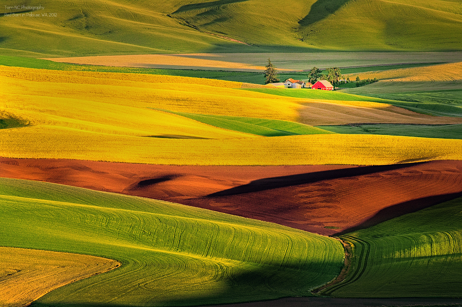 Photograph The Red Barn in Palouse Hill by Noppawat Charoensinphon on 500px