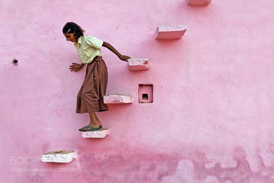 Photograph The pink stair by Philippe CAP on 500px