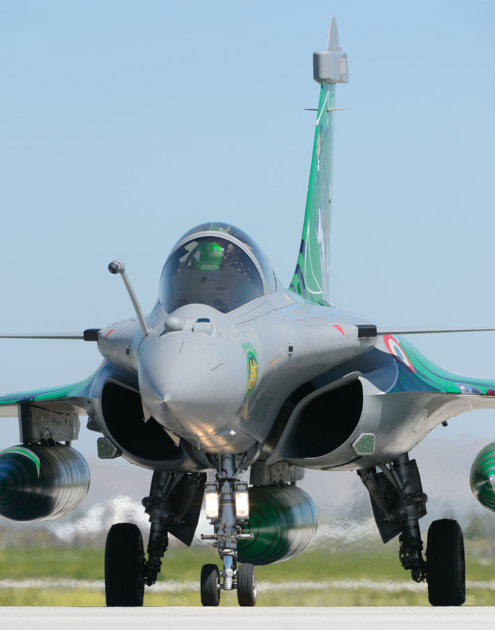"""A French Air Force Dassault Rafale C with special Tiger print design is waiting in line for take off on Konya Air Base in Turkey during the NATO Tiger Meet 2015.  ©<a href=""""http://www.hewaph.com"""">Harry Eggens</a>  The green reflection in front of the pilot is the translucent computer screen.  The Dassault Rafale is a French twin-engine, canard delta wing, multirole fighter aircraft designed and built by Dassault Aviation.  Have a nice day,  Harry"""