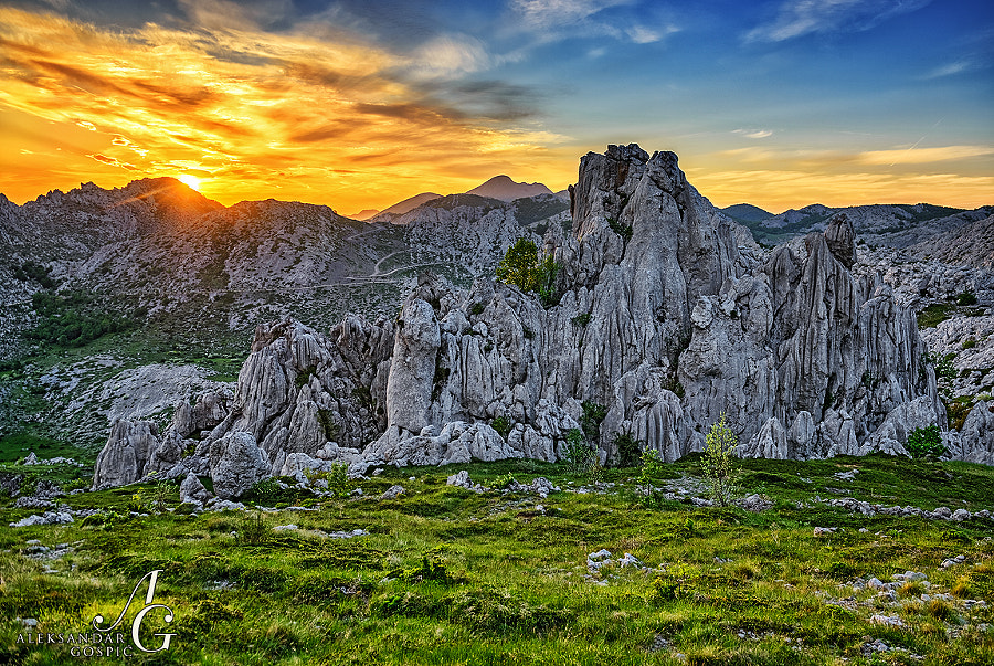End of the day in the Velebit range kingdom and cirrus clouds which are announcing the arrival of the low pressure