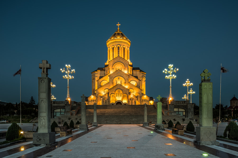 Sameba Cathedral at the blue hour, Tbilisi, Republic of Georgia by William Toti on 500px.com