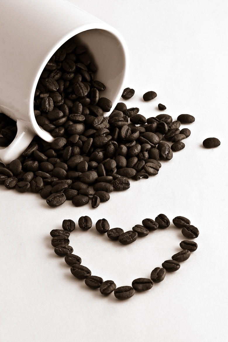 Photograph Coffee cup, coffee beans and heart by Gert Lavsen on 500px