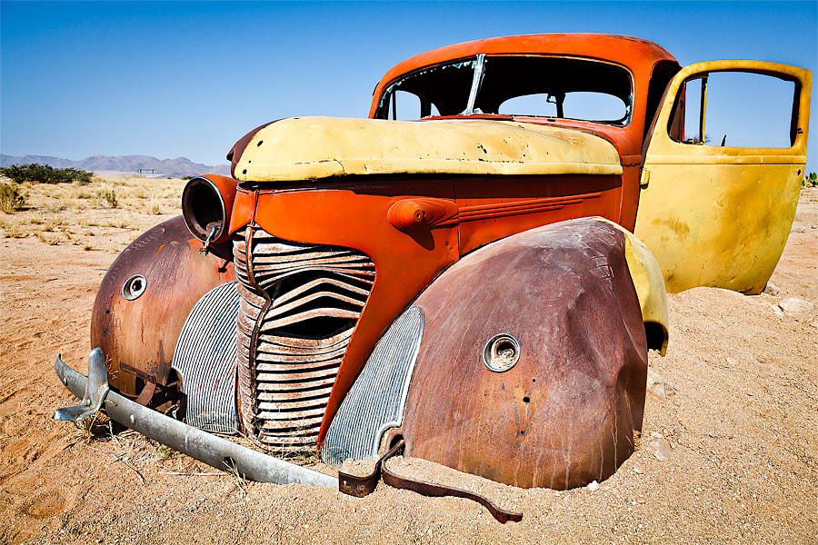 Photograph Namibia - Wrecked car in Solitaire  by Fabrizio Fenoglio on 500px