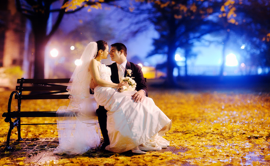 """When Jerry proposed to Stefanie, she had to sit down to hyperventilate on this very bench.  20-something """"Brenizer method"""" panorama."""