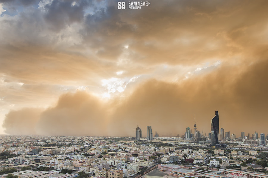 Landscape Photography Kuwait Approaching Sand Storm At Sunset by landscape and nature photographer Sarah Alsayegh