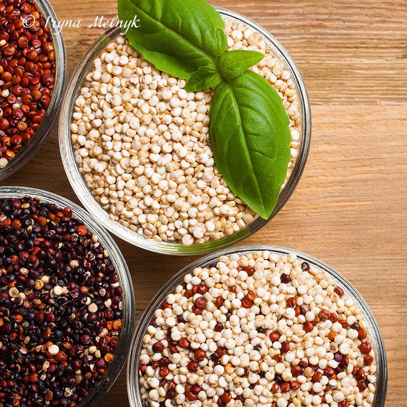 White, red, black and mixed raw quinoa by Iryna  Melnyk on 500px.com