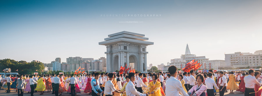 Photograph Mass Dancing outside Kim Il-Sung Stadium by Reuben Teo on 500px