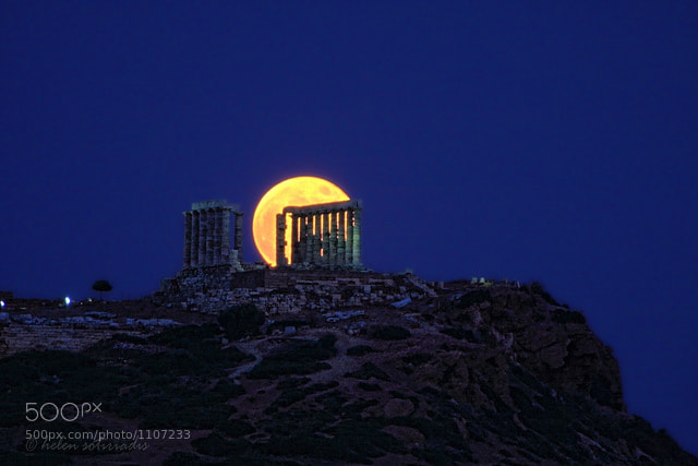 Photograph moonrise at sounion by helen sotiriadis on 500px