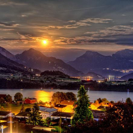 Moonrise over Lake Lucerne