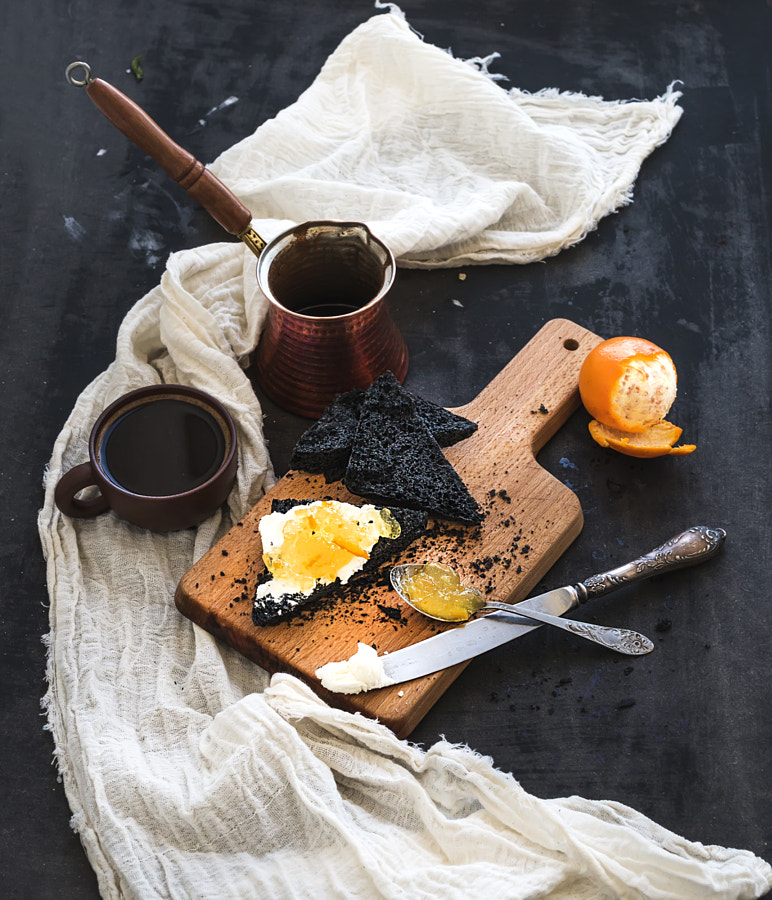 Breakfast set. Black bread toasts with tangerine marmelade and mascarpone cheese, fresh coffee on da by Anna Ivanova on 500px.com