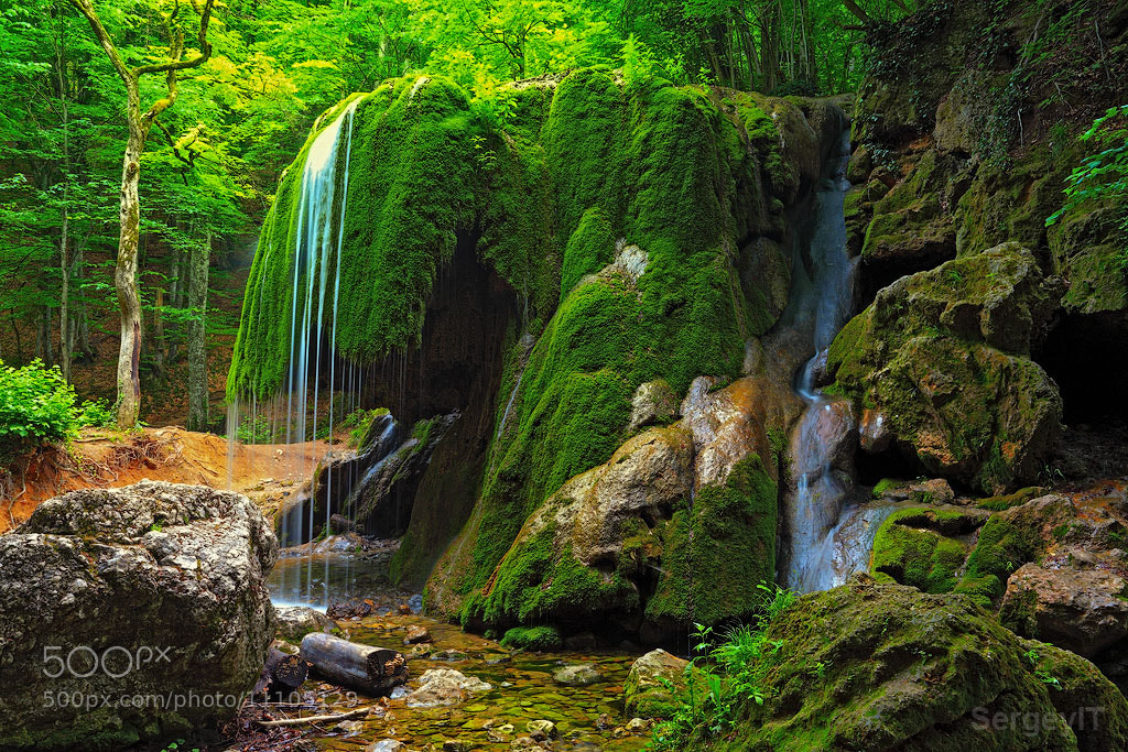 Photograph waterfall in Crimea forest and wet mossy stone by Sergiy Trofimov on 500px