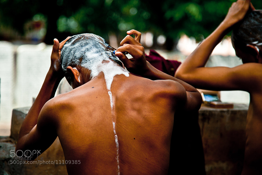 Photograph Monk's self-haircutting by Jennifer Le on 500px