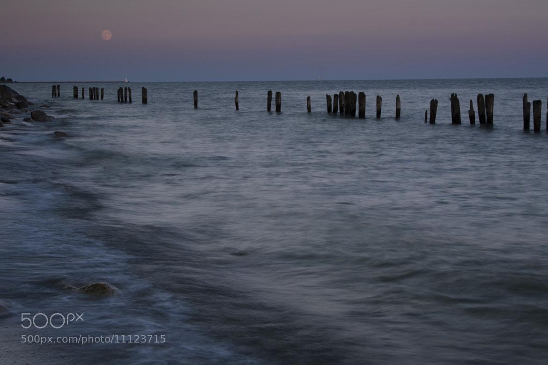 Photograph Moon Rise over the Pier by Kim Kurtz on 500px