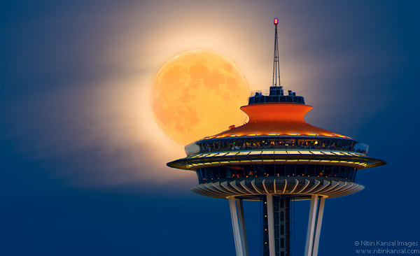 Photograph Moon Kissing Space Needle by Nitin Kansal on 500px
