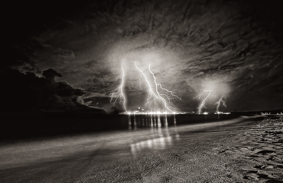 Photograph Lightning on the beach by Andrea Baccara on 500px