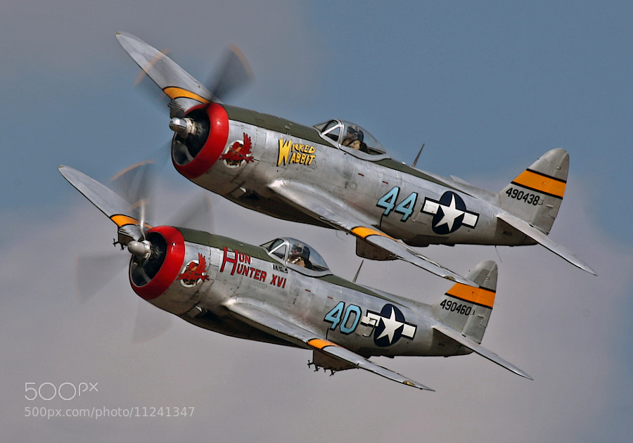 Beautiful 'banana pass' by a pair of P-47D Thunderbolts better known as the Jug.  The venue was the 2012 Thunder Over Michigan Air Show, Willow Run, Michigan.