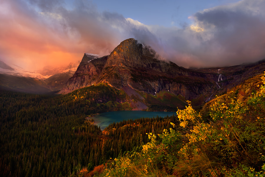 Fine Art Landscape Photography, Grinnel Lake in Fall by Nature and Landscape Photographer Hillary Younger