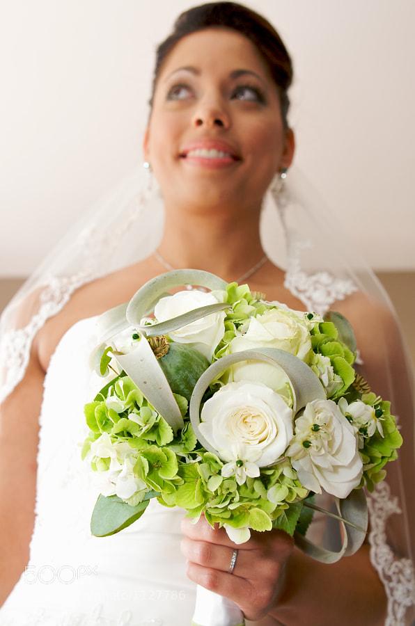 Bouquet in front of bride
