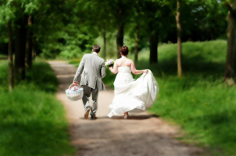 Bride and groom walking in a park in Culemborg, Gelderland (Netherlands)