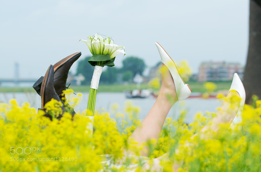 Feet of bride and groom sticking above a field full of flowers