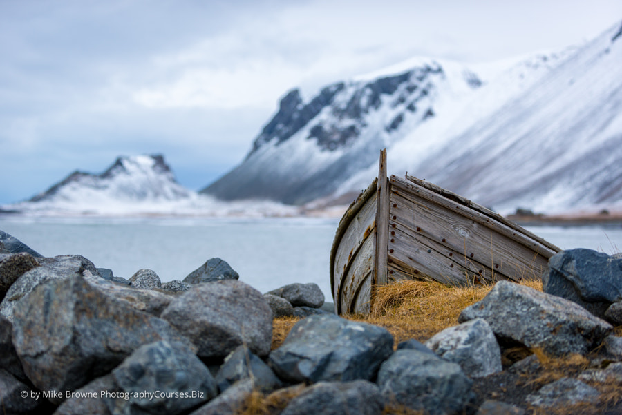 Iceland old boat and mountains by Mike Browne on 500px.com