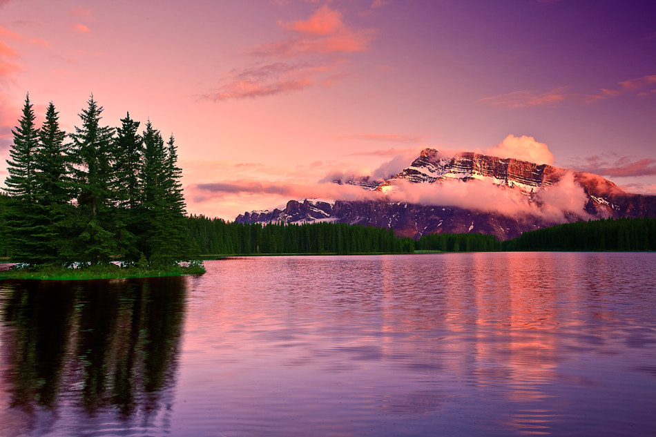 Photograph Canadian Rockies, Banff National Park, Two Jack Lake, Sunset by ya zhang on 500px