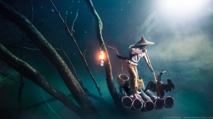 Photograph Cormorant Fisherman 30m underwater by Benjamin Von Wong on 500px