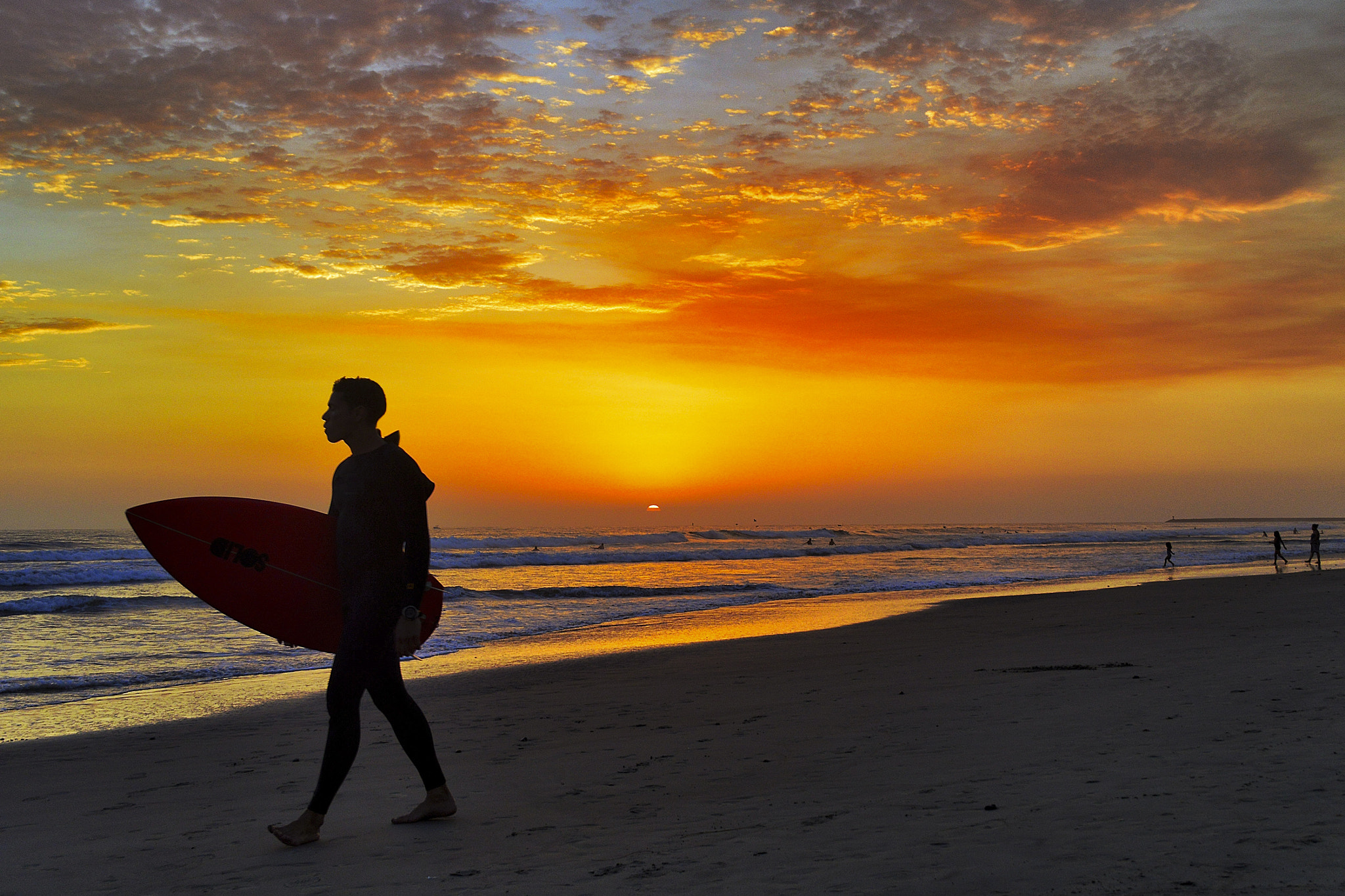 Photograph Surfer at Sunset in Oceanside - August 9, 2012 by Rich Cruse on 500px