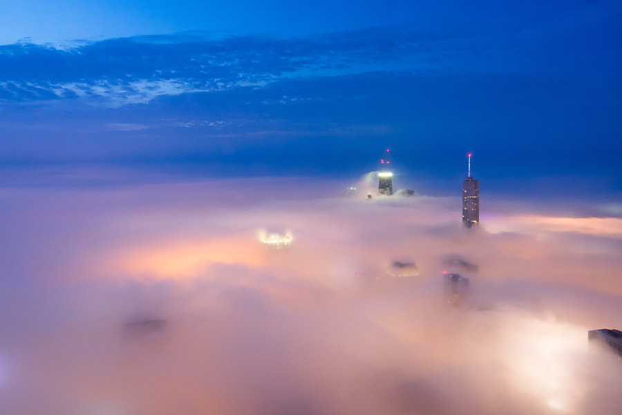 Photograph Cloud Chicago - Blue Hour Chicago by Peter Tsai on 500px