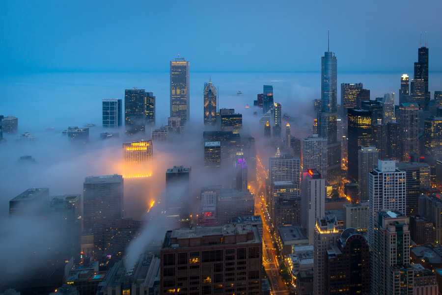 Photograph Cloud Chicago - Blue Hour Fog by Peter Tsai on 500px