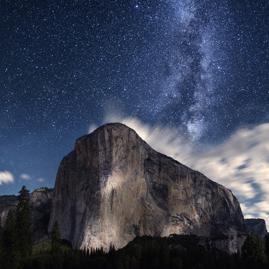 moonlight on el capitan and the milky way. yosemite national park. california. by Tanner Wendell Stewart on 500px.com