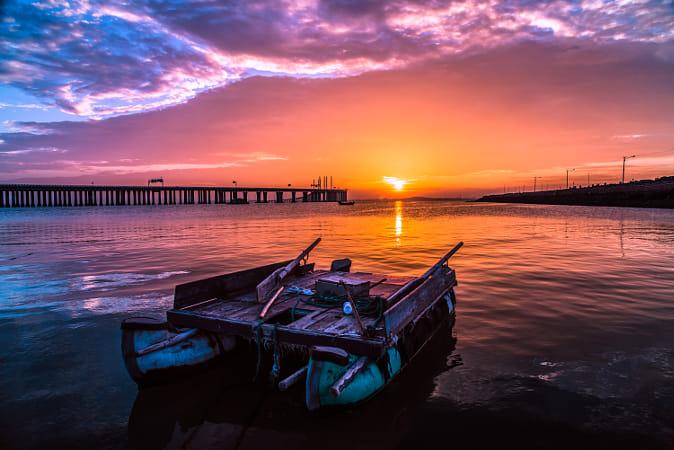 Sunset of Qingdao cross-sea bridge-4