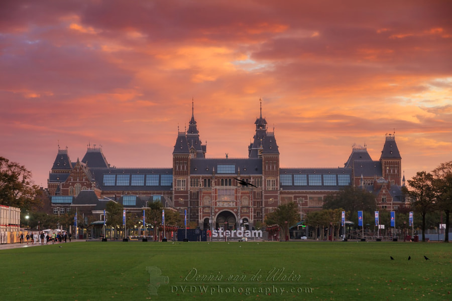 Photograph Rijksmuseum fire sunrise by Dennis van de Water on 500px