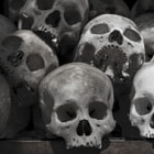 Skulls collected from the Killing fields outside of Phnom Penh.