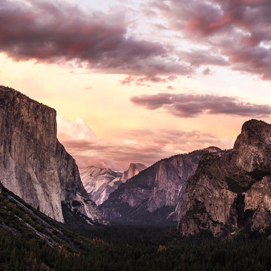 tunnel view sunset. yosemite. california. It